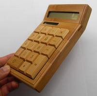 Wholesale New Digits Fashion Real Natural Bamboo Solar Electronic Calculator