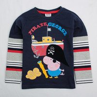 Wholesale A4533 Nova Pirate George Peppa pig t shirts m y baby boys t shirts cotton long sleeve boys tops for autumn winter fast delivery
