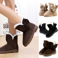 Wholesale Hot Womens Warm Winter Boots Bowknot Flat Solid Lady Snow Boots Mid Calf Shoes