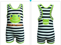 Wholesale Children Swimwear One Piece Swimming Suit Kids Bathing Suits Boys Sets Beachwear Stripe Swim Vest