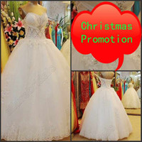 christmas wedding dresses - 2014 Christmas Promotion Dresses Pearls Rhinestone Crystal Wedding Dresses Lace Up Sheer Wedding Dress Real Sample Wedding Gowns Beaded