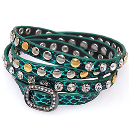 wholesale leather wrap bracelet,wrap Bracelets with crystal buckle,wrapped studded Bracelets with crystal and metal rivet