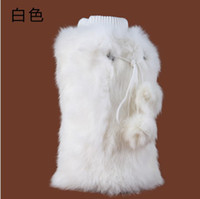 Hotel Shoe Decorations Black Ms real rabbit hair leg sets leg warmers winter warm care ability to set fur set 35 cm high