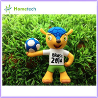 Wholesale Drop shipping Brazil World Cup Mascot style USB Flash Drives Thumb drive Pendrive Memory Stick novelty gift bulk