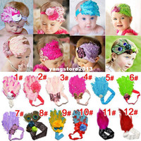 Headbands Headwear Floral Wholesale - (8 Color ) children feather hair band baby Hairband Girls Headbands Children's Hair Accessories