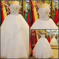 A-Line christmas wedding dresses - Simple Luxury Cheap Wedding Dresses Rhinestone Pleat White Beaded Crystals Wedding Dress Lace Up Christmas Promotion Wedding Dress Gowns