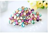 Crown Silk Flower Headwear Korean Style Crystal Spring Hair Clips Shining Amazing Cheap Selling Headwear Accessories For Women
