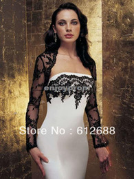 Wholesale Hot Sale Long Sleeve Bridal Jacket Black Lace Wedding Boleros Accessories