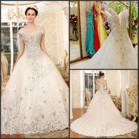 A-Line rhinestone applique - Off Shoulder Shiny Wedding Dress Rhinestone Lace up Rhinestone Cathedral Wedding Dress Organza Beaded Bridal Dresses Gowns Hot
