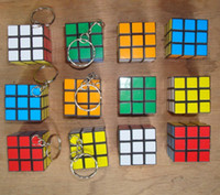 Wholesale 2014 hot Stock Factory directly sales Keychain Rubik s cube x3x3cm Puzzle Magic Game Toy Key Keychain
