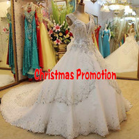 A-Line rhinestone applique - Gorgeous V Neck Ball Wedding Dresses Rhinestone Laciness Applique Lace up Crystal Wedding Dress Pleat Cathedral Wedding Dresses