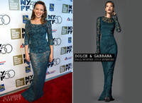 Wholesale Sexy Kylie Minogue Green Three Quarter Sleeve Celebrity Dresses Holy Motors New York Film Premiere See Through Prom Evening Dresses Q0004