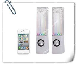 Free ship A pair = 2pcs LED USB Dancing Water Speaker Speaker Soundbox Boombox pour téléphone / pc / pad / mp4 noir blanc Bleu Rose à partir de conduit l'eau de danse usb fournisseurs