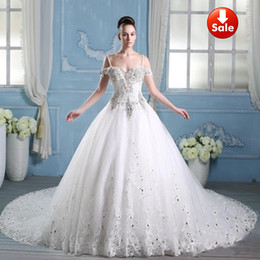 Wholesale sexy Newest Luxury bride dress crystals cathedral Off the shoulderSpaghetti strap wedding Free Veil Free PETTICOAT