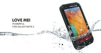 For Samsung three proofings   For Galaxy Note 3 Note iii N9000 Extreme three proofings Dirtproof Waterproof Shockproof Love Mei Cover Case + Gorilla Glass