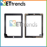 Wholesale for iPad Touch Screen Glass Digitizer Assembly with Home Button amp M Adhesive Glue Sticker Replacement Repair Parts Black White AA0066