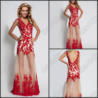 Wholesale Semi Sheer Formal Dress - Free Shipping Red Lace Applique Deep V-Neck Sheath Sexy Prom Dresses Semi-Sheer Chic Long Formal Evening Party Dress Gowns No Sleeve Cheap