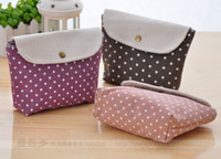 Wholesale Lovely Wave Point of Cotton and Linen Multi function Makeup Bag Hand Bag Wallet