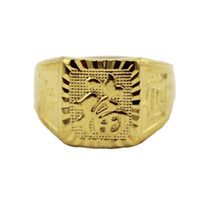 Band Rings China-Miao Men's Fashion Gold Rings Chinese Character 18K Gold Plated Openable Lucky Rings Men R007
