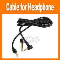 Wholesale New black mm mm Replacement Coiled Audio Cable for Headphone L Plug Straight Plug for Detox Headsets