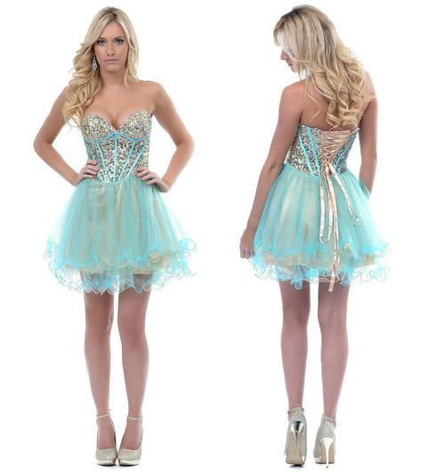 Aqua & Gold Two Toned Sequined Debs Corset Prom Homecoming Dresses ...