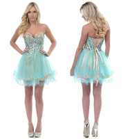 Reference Images aqua strapless prom dress - Aqua Gold Two Toned Sequined Debs Corset Prom Homecoming Dresses Strapless Sweetheart A Line Layered Tulle Short Party Skirt