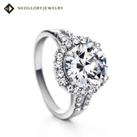 Wholesale Neoglory Czech Rhinestone Ring Imitation Rhodium Plated Zircon Fashion Jewelry for Women New Cyber Monday Sale