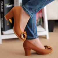 Wholesale 2014 Hight Qaulity NEW Fashion Women s Bow Charm Thick Heel Non slip Comfort Sweet Round Head Hight Heel Shoes Ladies Sexy Single Shoes