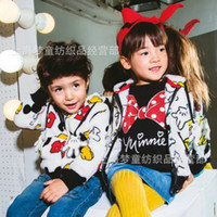 Cheap Hot sales Girls boys minn Minnie mouse hoodies kids Floral print red bow long sleeve overcoats Children's Pullover