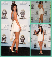 Reference Images Straps Chiffon White Hot Megan Fox Little Celebrity Dresses Beaded Straps Backless Cocktail Dresses Front Short Back Long Prom Dresses Mini Evening Dresses
