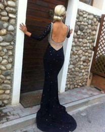 Wholesale 2014 New black backless pearls sequins long sleeve evening dress sheath party prom pageant celebrity gown Christmas