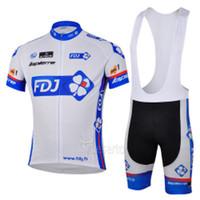 Wholesale High quality FDJ Pro cycling jersey with bib shorts blue mens cycling wear FDJ Lapierre cycling sets Blue cycling wears