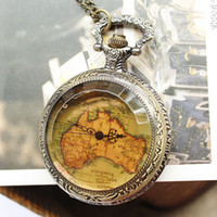 Wholesale 2013 New Arrival Antique Flower Back Map Shape Pocket Watch EMS FREE TO AUS