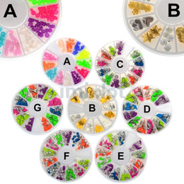 Wholesale 10 New Nail Art Rhinestones Glitters Acrylic Tips Decoration Manicure Wheel styles JC03032 JC03034