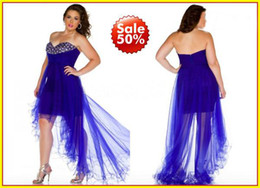Wholesale 2014 Plus size Royal Blue Hot Pink Strapless A line Backless Tulle Crystals Sexy High Low Prom Party Dresses Formal Dress Gowns