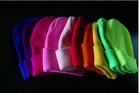 Wholesale men and women of fluorescent color line cap hat knitted cap GD hip hop MaoXianMao set of head cap