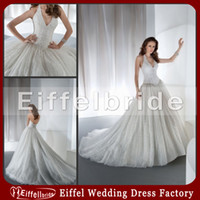Wholesale 2014 Sexy Halter Top Beach Wedding Dresses with A Glamorous Deep V neck And Bling Bling Beaded Sequins A line Monarch Train Bridal Gowns