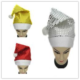 Top Quality 3 colour Paillette Adult Pretty Santa Hat cap Christmas Ornament Gift Christmas Hat