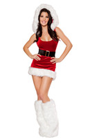 adult jumpers - Sexy Christmas Xmas Costume Women Adult Girl s Jumper Dress Sweetie Winter Santa Mini Dress Lingerie Feather Hat New Drop Shipping