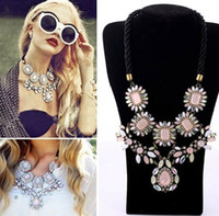 Wholesale STOCK New Luxury Brand Cherry Blossom Pink Gem Diamond Multi Layers Flower Bib Choker Statement Necklace Earring Jewelry Set SN046