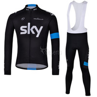 Full Breathable Men High quality cycling jersey sky cycling clothes winter thermal fleece cycling jersey bib cycling skinsuit ultra breathable jersey cheap sale