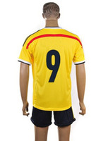 2014 World Cup Colombia Home Yellow #9 Falcao Soccer Jerseys...