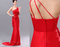 Reference Images One-Shoulder Satin Free Shipping Elegant Beads Ruched One-Shoulder Peplum Evening Gowns Prom Dress