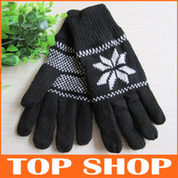 Wholesale Five Fingers Gloves cm Winter Double Cashmere Gloves Man Thickened Fingers Woollen Gloves Knitted Gloves