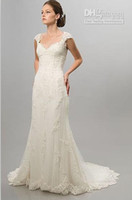 A-Line Model Pictures Sweetheart Cap Sleeve White Ivory Lace Wedding Dresses Bridal Gowns Two Piece layers Stretch Real Actual Images