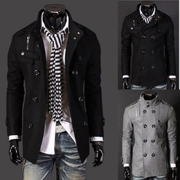 Wholesale 2013 WINTER NEW CASUAL MEN S STAND UP COLLAR BADGES DOUBLE BREASTED TRENCH COAT MF