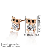 Wholesale Cute Womens Stud Earrings Rose Gold Color Lovely Owl with Black Eyes Apparent Round Rhinestone Stomach Mix Order New Arrivals on Hot Sale