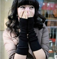 Wholesale New Fashion Lady Long Knit Arm Gloves Fingerless Warm Gloves Arm Knitted Gloves Knitted Arm Mittens Sleeve Colors F022