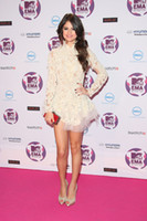 Wholesale Selena Marie Gomez Backless Long Sleeves Mini Beautiful Lace Celebrity Dress CBD056