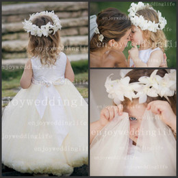 Wholesale 2014 New Lovely Sleeveless Tulle Flower Girl Dresses Satin Top A Line Floor Length Little Girls Pegeant Gowns BO3395